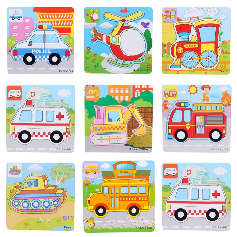 Wooden Puzzle For Kids Cartoon Transportation Car Jigsaw Baby Wood Puzzles Intelligence Learning Education Toy For Children Gift taf toys play and kick car toy