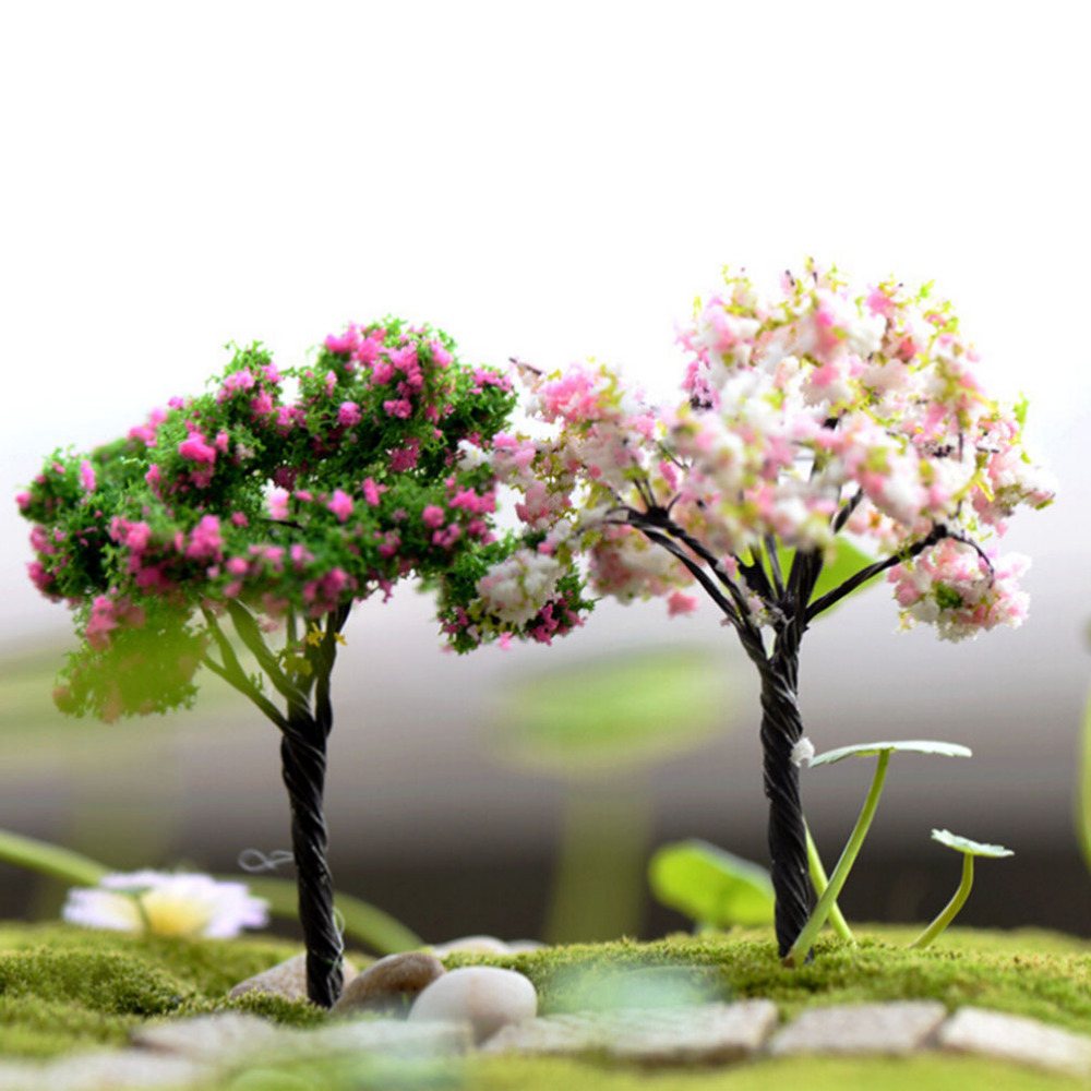 Home Decoration Accessories Plastic Crafts Kawaii Trees For Miniature Garden Ornament Dollhouse Plant Pot Diy Craft