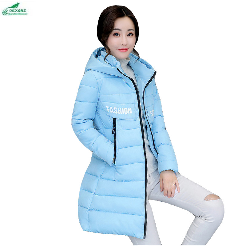 Feather cotton Outerwear female mid long section winter new hooded thickening coat female Slim Korean cotton