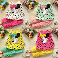 2016 New Baby Girls Lovely Cute Cartoon Mouse Dress Kids Cartoon Dot Tops Pants Clothes Outfits  Girl Children's Clothes