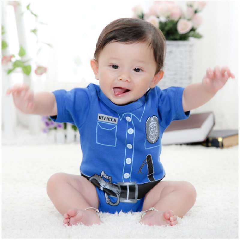 2018 Summer Baby Boys Bodysuits Baby Shortalls Police Baby Boy Clothes Jumpsuit Ropa De Bebe