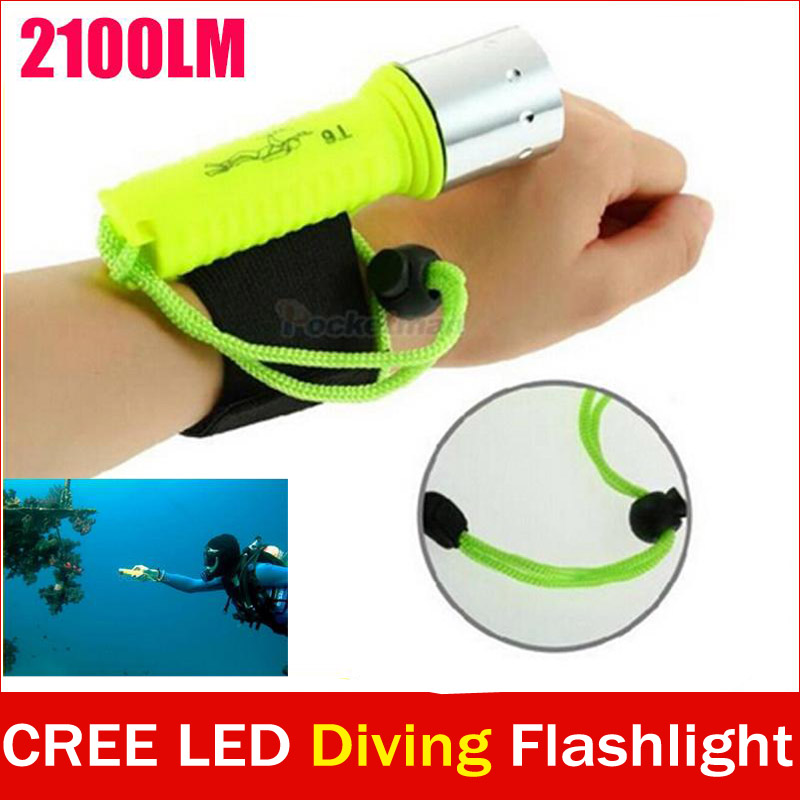 New 2100LM CREE T6 LED Waterproof underwater scuba Dive Diving Flashlight Torch light lamp for diving free shipping