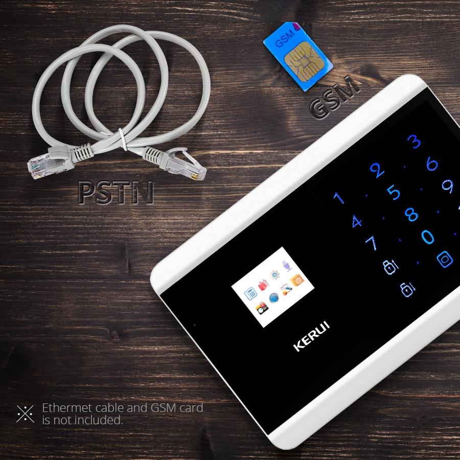 KERUI 8218G PSTN GSM Alarm System Dual Net Touch Dual APP Controlled Home Security Alarm Sensor Detector Burglar Alarm