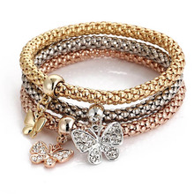 Butterfly Charm 3-color corn chain for Women Rhinestone Zircon jewelry alloy material gold and silver Bracelet & Bangle Jewelry