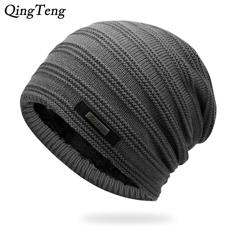 Gray Double-Layer Acrylic Velvet Beanie Hat Winter Warm Male Knitted Caps  Outdoor Sports Ski 8e604217f72