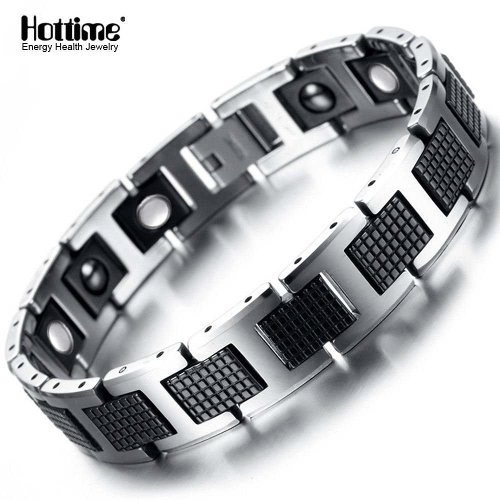 Hottime Punk Healthy Energy Bracelet Men Black Chain Link Bracelets Jewelry Tungsten Magnet Charm Bracelets for Men Jewelry