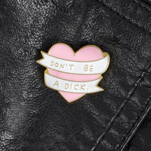Pink Heart Ribbon Pins Rude Brooches Badges Hard Enamel Lapel Pins Leather Jackets Collar Bag Backpack Accessories(China)