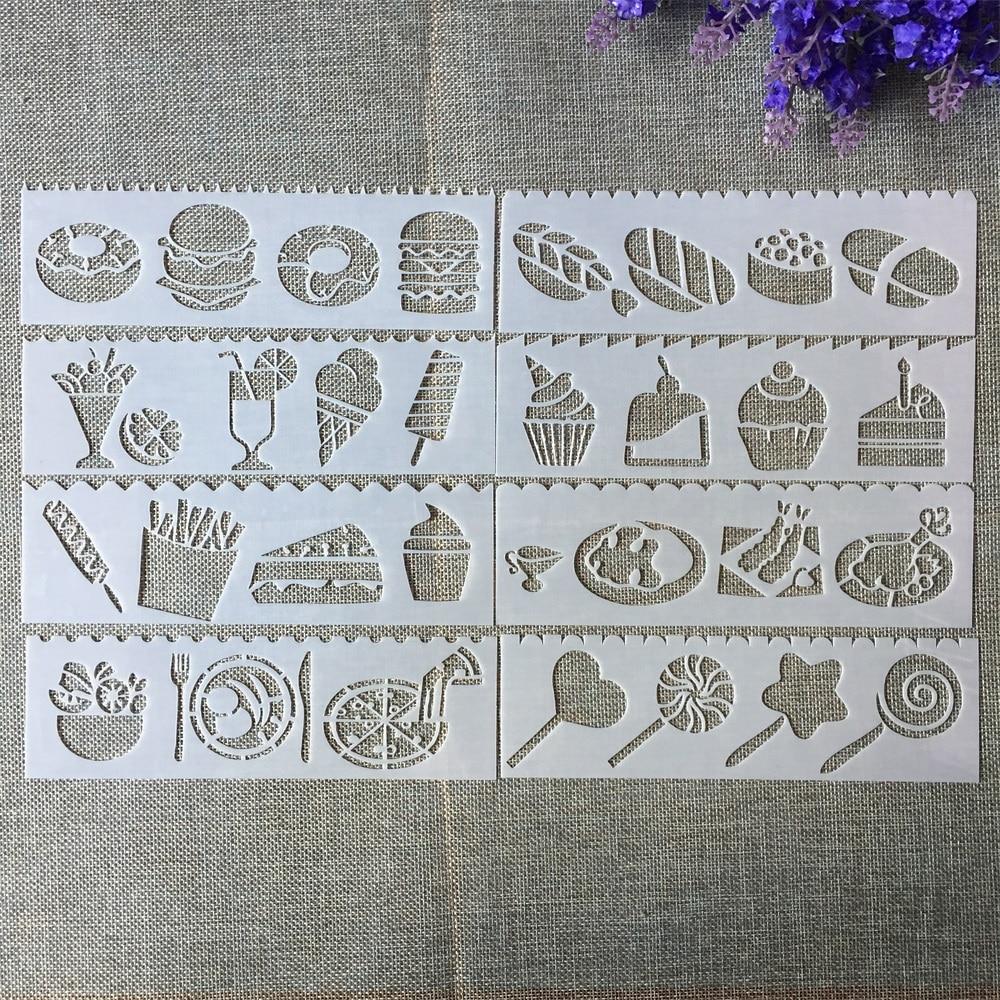 8Pcs New 18.5*5.5cm Food Cake DIY Layering Stencils Painting Scrapbook Coloring Embossing Album Decorative Template
