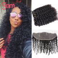Indian Virgin Hair 13x4 Lace Frontal Closure With Bundles Deep Wave Curly Hair Ear to Ear Lace Frontal Indian Curly Virgin Hair