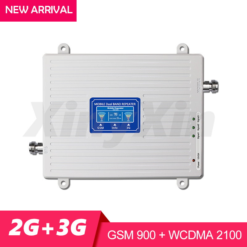 GSM 900mhz WCDMA UMTS 2100 3G 2G Mobile Cellular Signal Booster Repeater GSM 900 Cell Phone Signal Amplifier Dual Band Gain 70dB