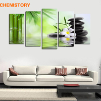Unframed 5 Panels Bamboo Stone Flower Scenery Modern Print Painting On Canvas Unique Home Wall Art Picture Room Decoration