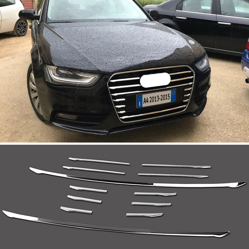 12 pieces For Audi A4 B8 2013-2015 Front Bumper Middle Grill Grids Trim Strips Car Styling Exterior Accessories Sticker