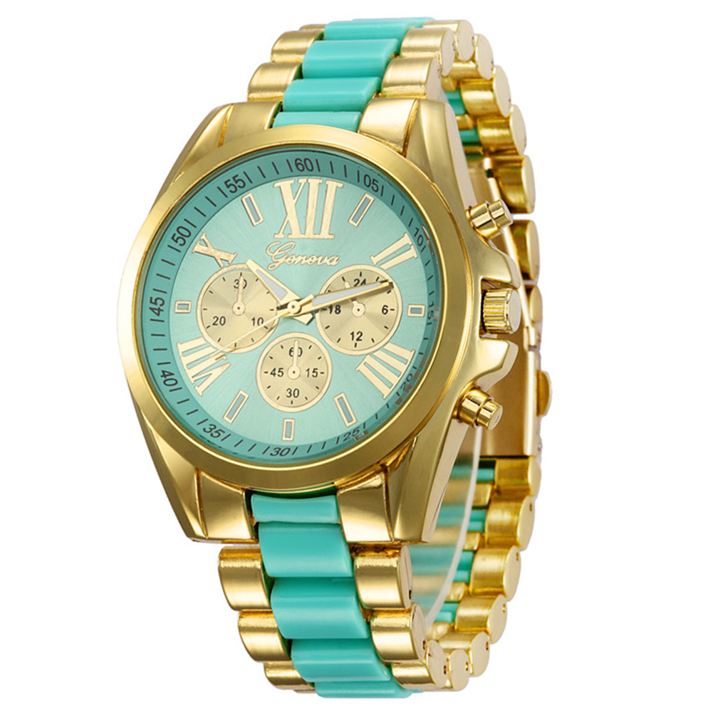 Geneva Business Elegant Fashion Women Roman Numeral Gold Plated Wrist Watch Colour:Green