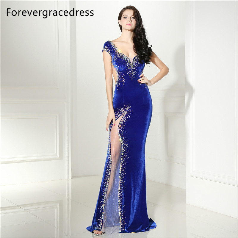 Forevergracedress New Arrival   Prom     Dress   2018 Sexy V Neck Beaded Crystals Backless Long Formal Party Gown Plus Size Custom Made