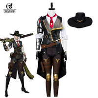 ROLECOS Over Game Watch Ashe Cosplay Costume OW Ashe Elizabeth Caledonia Cosplay Uniform for Women Full Set Hat Gloves