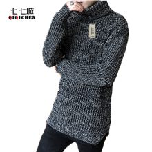 2017 New Autumn and Winter Men Thick Sweater Coat Korean High-necked Casual Sweater Male O-Neck Knitted Pullover Men 2 Colors