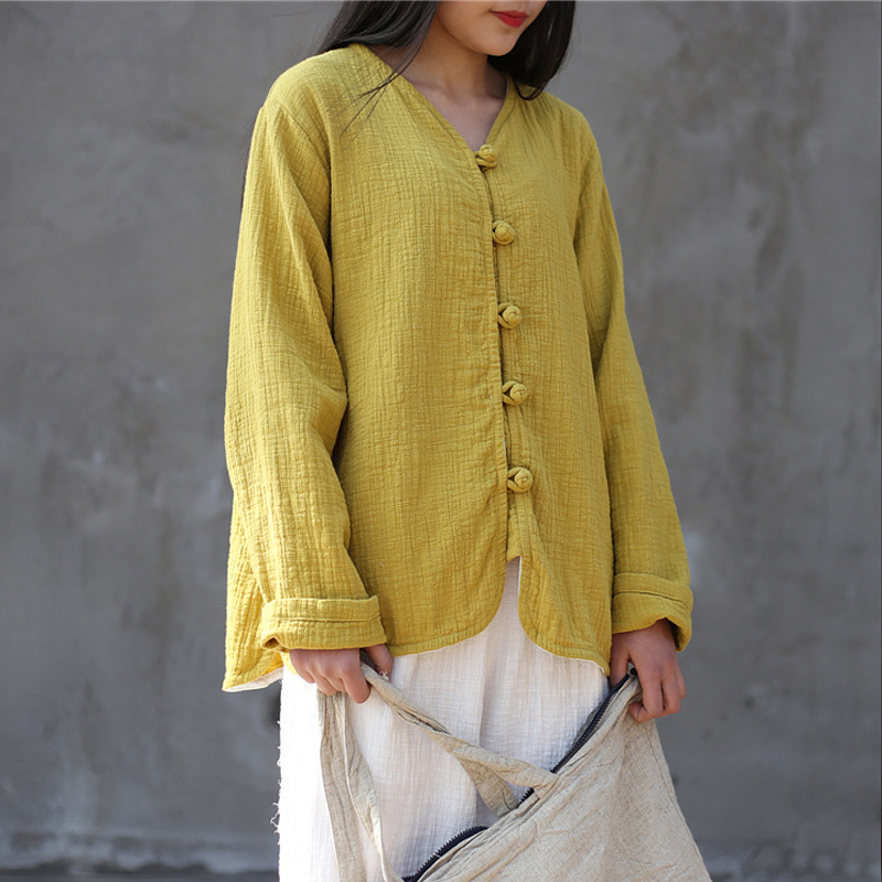 Johnature Women Vintage Shirt 2018 Spring New Cotton Linen Blouses V Neck Full Sleeve Button 5 Color Loose Casual Women Shirts