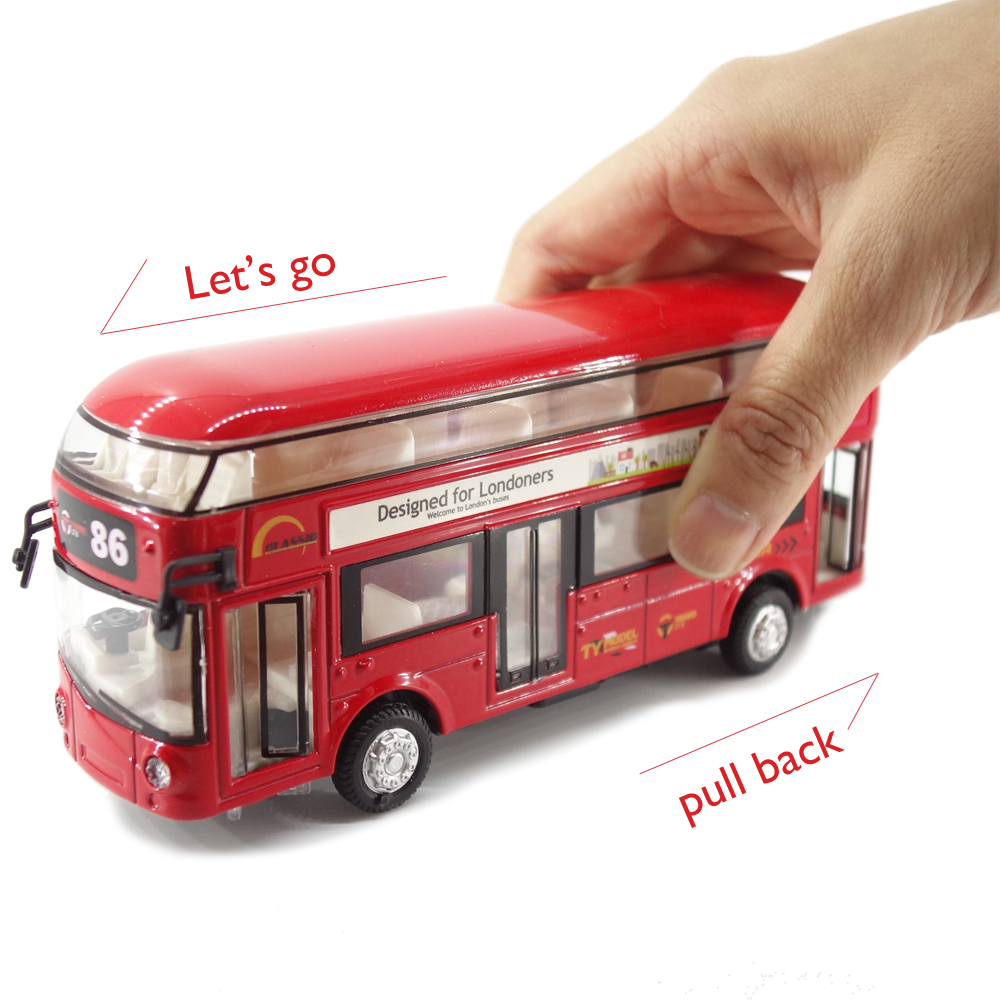 Die Cast metal pull back action Hong Kong Transportation Public Bus Car