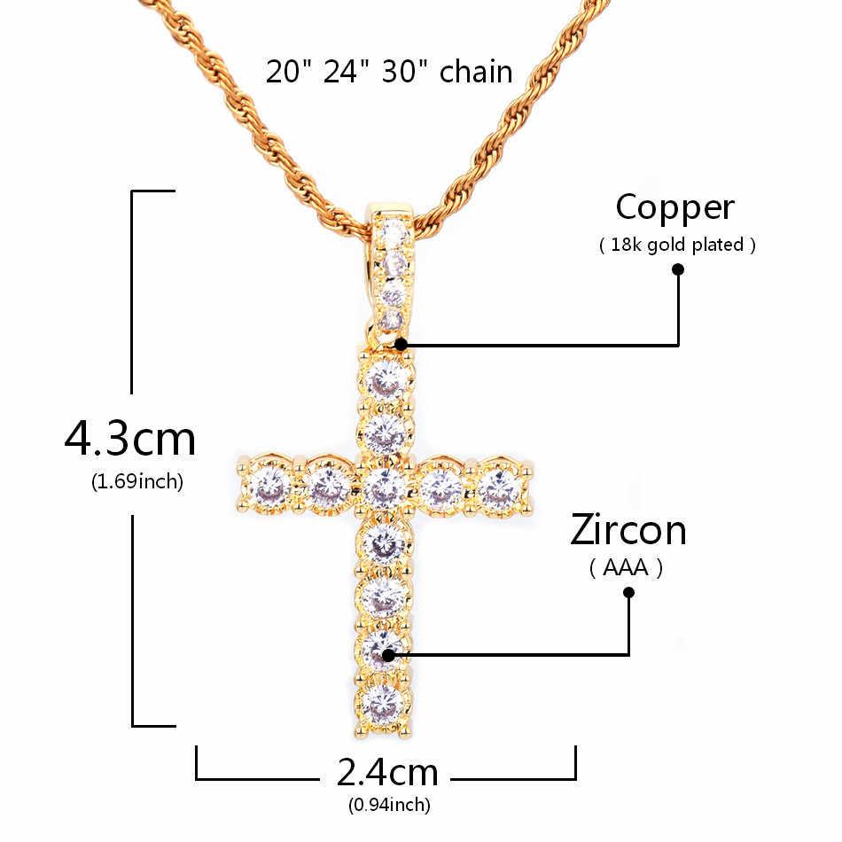ใหม่ Zircon Gold จี้ทองเงินทองแดงวัสดุเย็น AAA CZ สร้อยคอจี้ผู้ชายผู้หญิงเครื่องประดับ Hip Hop