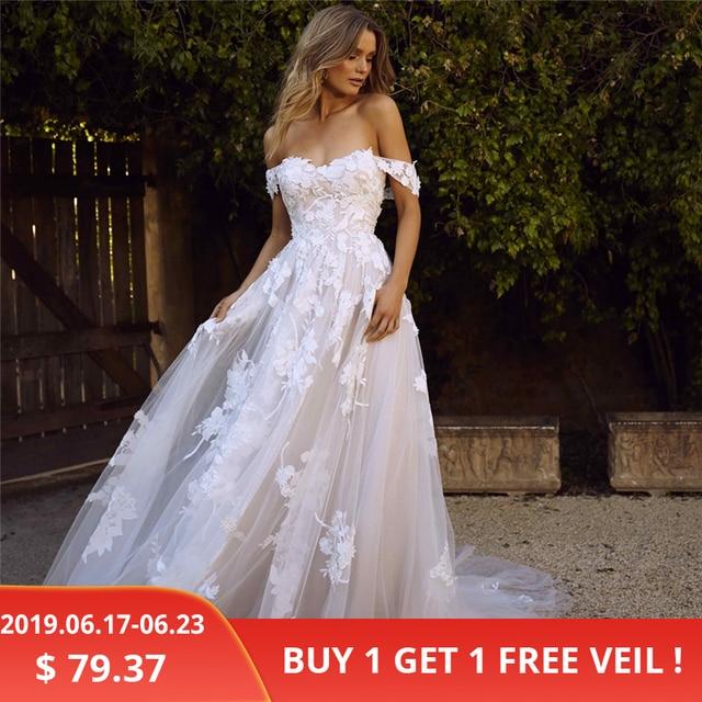 LORIE Apliques de Renda Vestidos de Casamento 2019 Fora do Ombro UMA Linha de Vestido de Noiva Da Princesa Do Vestido de Casamento Frete Grátis robe de mariee