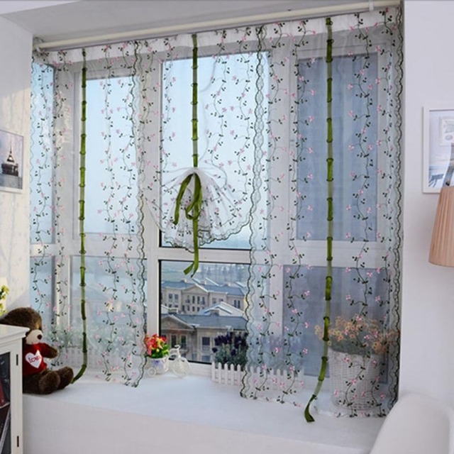 98CM82CM White Voile Floral Curtains For Living Room Embroidery Door Window Drawstring Curtain Cortinas