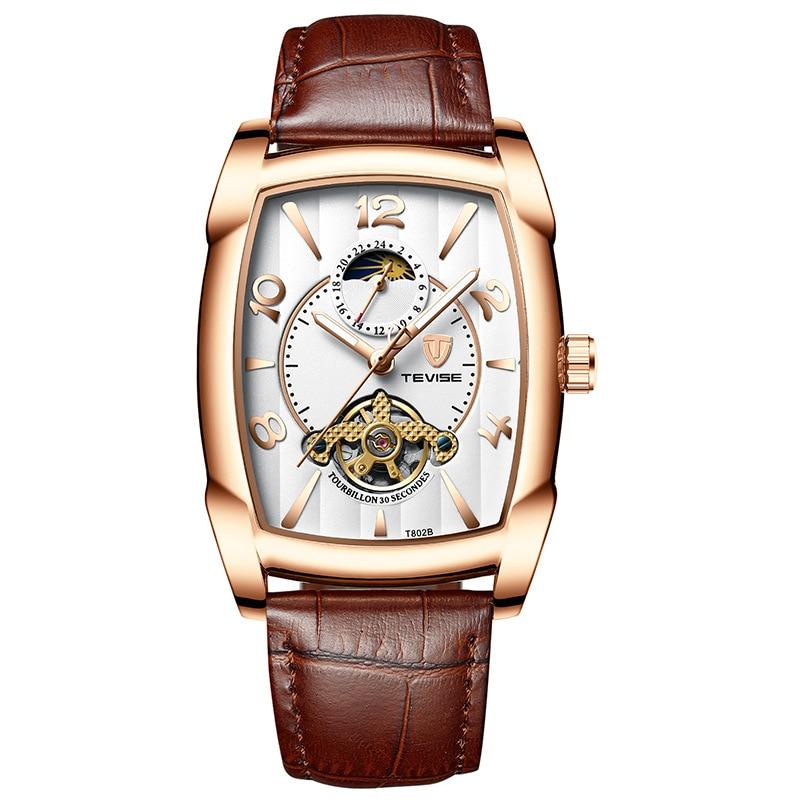 TEVISE T802B Men Watches Moon Phase Tourbillon Rectangle Wristwatch Mens Waterproof Luminous Automatic Mechanical Leather Clock
