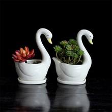 Ceramic Flower Vase White Swan Plant Porcelain Animal Decoration