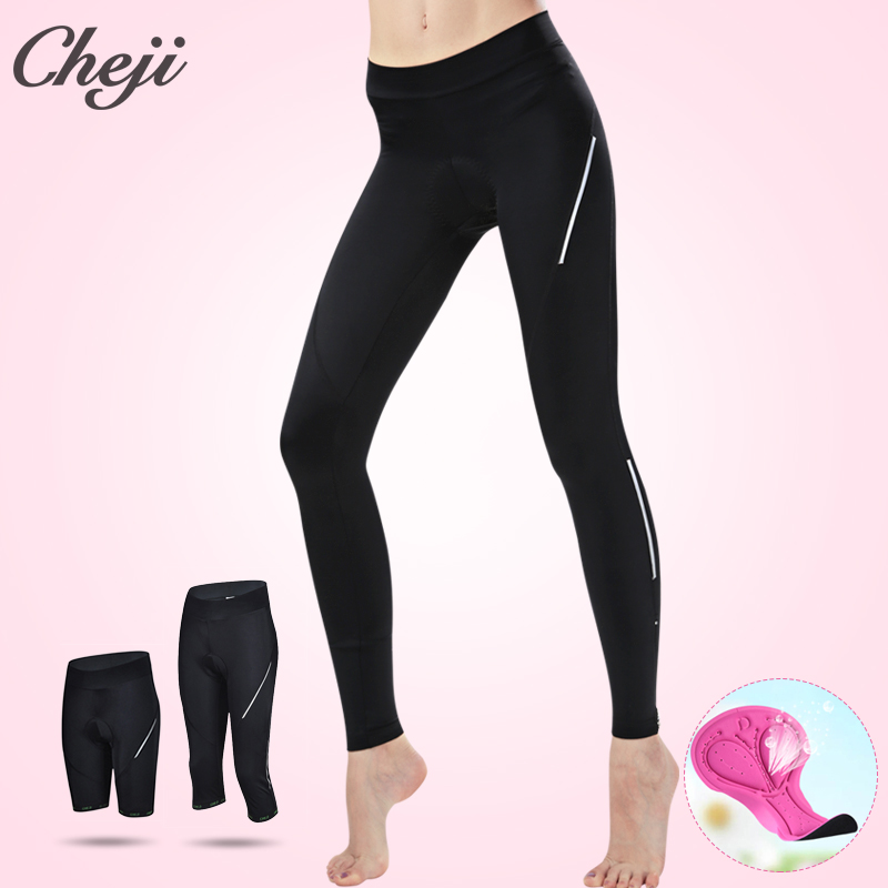 CHEJI 2018 Cycling Pants Women Long Bicycle Pants High Quality Mtb Road Bike 3/4 Tights Black Cycling Long 3/4 Lycra