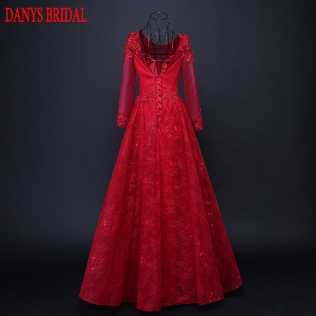 Online Shop Red Long Sleeve Lace Evening Dresses Party Beaded ...