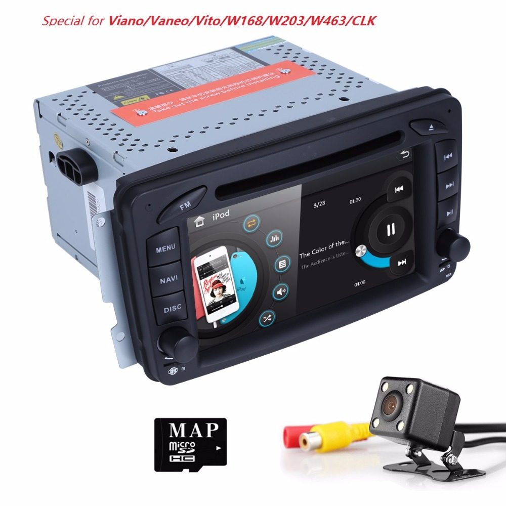 2din 7inch Radio GPS Car DVD Player for Mercedes Benz A W168 C Class W203 CLK Class W209 C209 G Class W463 W639 canbus sd 3g cam