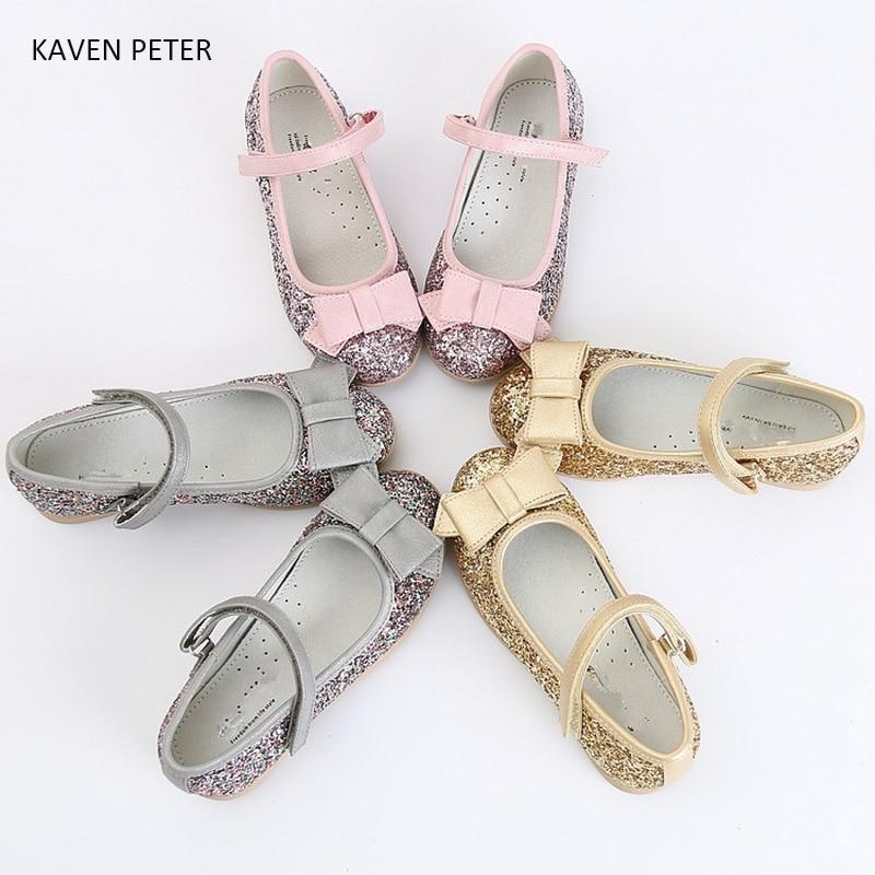 Sepatu anak-anak putri, Gadis penari balet, Merah muda perak sepatu dansa emas, Gemerlapnya pu kulit anak-anak balita sepatu ortopedi