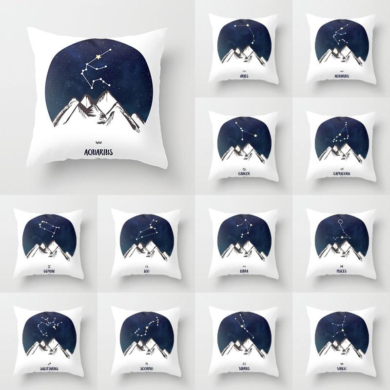 18'' Elife Polyester Astrology Zodiac Constellation Cushion Cover Throw Pillow Case Cover For Sofa Car Waist Home Decor 45*45CM