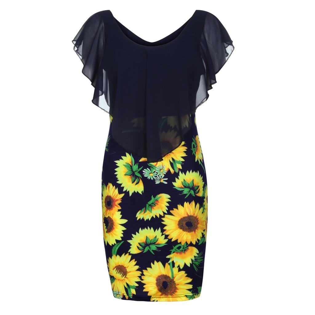 HTB188wHVSzqK1RjSZPcq6zTepXaN Sexy Womens Sunflower Summer Bodycon Dress Sleeveless Printed Holiday Party Short Mini Dresses Ruffle Summer Dress 2019 Vestido
