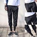 2016 New Spring Summer Ankle length pants men Black color Elastic Rock punk trousers