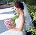 В Наличии Простой Девушки Короткие Дешевые Настоящее Белый Один слой люкс Свадебная Фата Аксессуары 2017 Женщина Роковая Продажи Без Клип A20