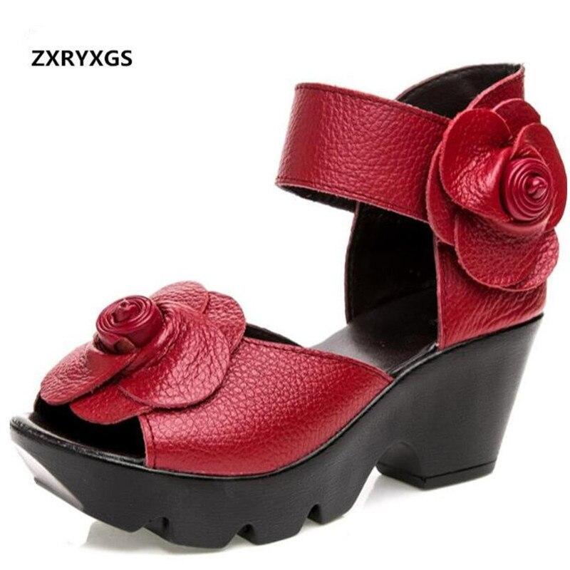 2019 ベストセラー新エレガントなファッションサンダル夏の女性のサンダル花カウレザーサンダル結婚式の靴の女性の靴  グループ上の 靴 からの ハイヒール の中 1