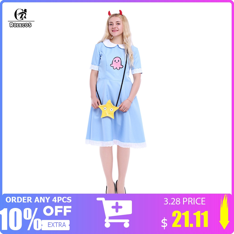 ROLECOS American Anime Star vs. Forces of Evil Women Cosplay Costume Princess Star Butterfly Blue Long Dress With Messenger Bag