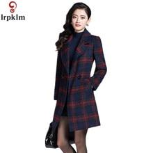 Высококачественное осенне-зимнее женское клетчатое мягкое тонкое шерстяное пальто, модные облегающие Женские Длинные куртки с отложным воротником XXXL LZ183