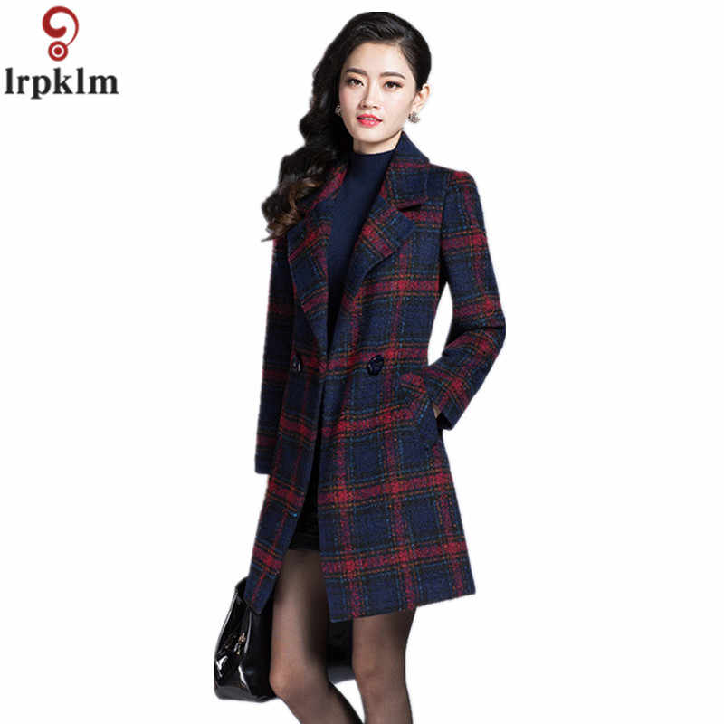 High Quality Autumn Winter Female Plaid Soft Thin Woolen Coat Fashion Slim Turn-Down Collar Women's Long Jackets XXXL LZ183