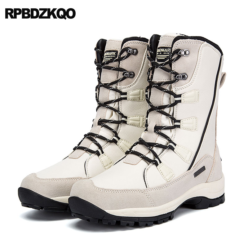 Patchwork Suede Casual Super Warm Winter Boots Russian Style Full Grain White Hiking Men Faux Fur Lace Up Snow Mid Calf Shoes недорго, оригинальная цена