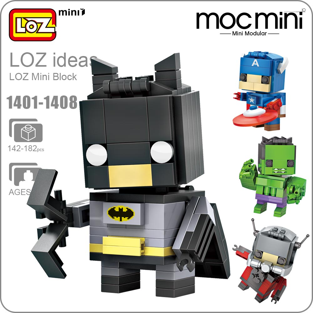 LOZ Mini Blocks Big Heads Figure Action Building Blocks Super Heroes Toys for Children Superheroes Brick Heroes DIY 1401-1408 building blocks super heroes back to the future doc brown and marty mcfly with skateboard wolverine toys for children gift kf197