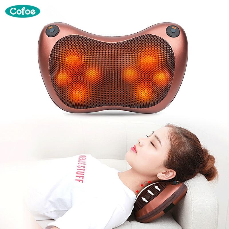 Cofoe Cervical Vertebra Massage Pillow Car Home Multifunction Electric Shoulder Massager Back Cushion Tractor Massage Device цена