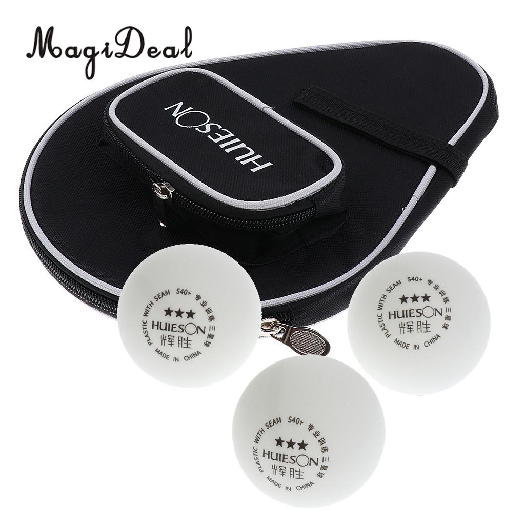 MagiDeal Table Tennis Racket Case Ping Pong Paddle Cover with Ball Pouch + 3 Pieces White 3-Star Tennis Table Balls