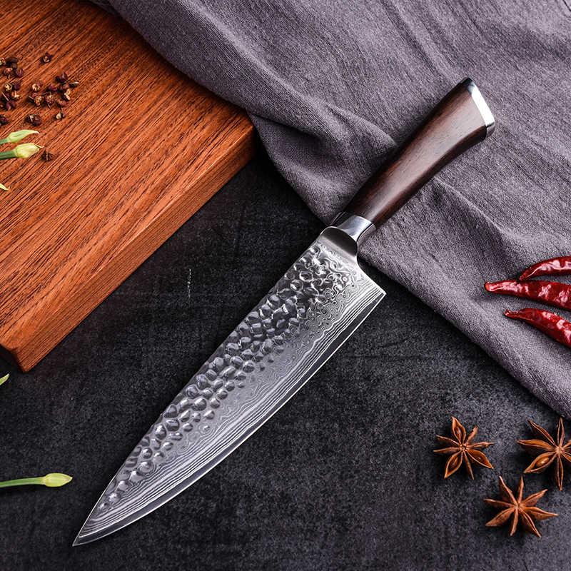 Professional Chef มีดดามัสกัสเหล็กมีดครัวญี่ปุ่น 8 นิ้ว VG-10 67 ชั้นเนื้อมีดหั่นเครื่องมือตัดไม้ Handle