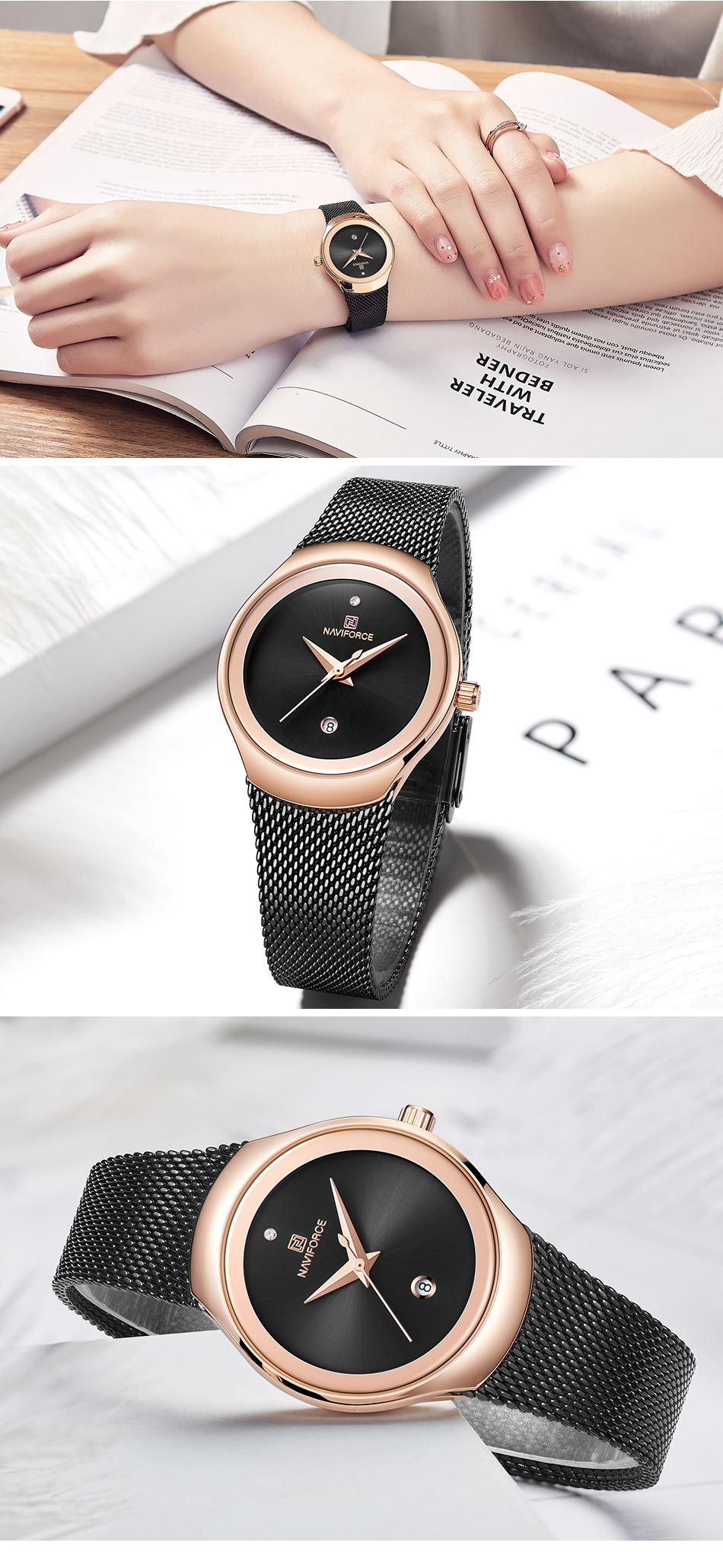Women Watches NAVIFORCE Top Luxury Brand Female Fashion Analog Quartz Watch Ladies Simple Ultra-thin Silver White Wrist Watch