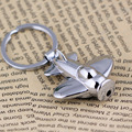 10Pcs/Lot Polished Chrome Silver Keychain LED Light Plane Aircraft Air Plane Key Chain Ring Keyring Key Fob Holder 86126