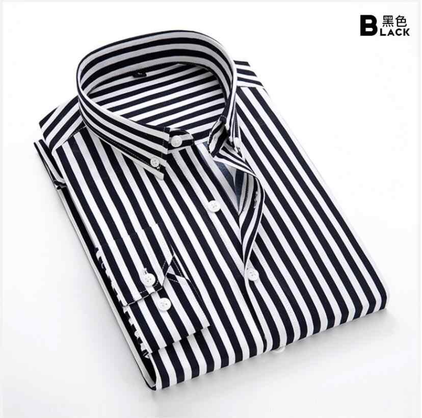 ファッション新 2019 男性長袖シャツ男性ストライプクラシックフィット快適ソフトボタンダウンシャツカジュアル男性シャツ 5X トップス