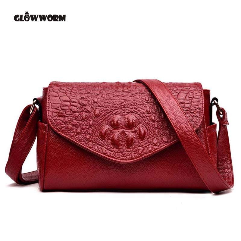 High Quality Women's Genuine Leather Handbags Alligator All-match Shoulder CrossBody Bags Messenger Bag Women Bags цена