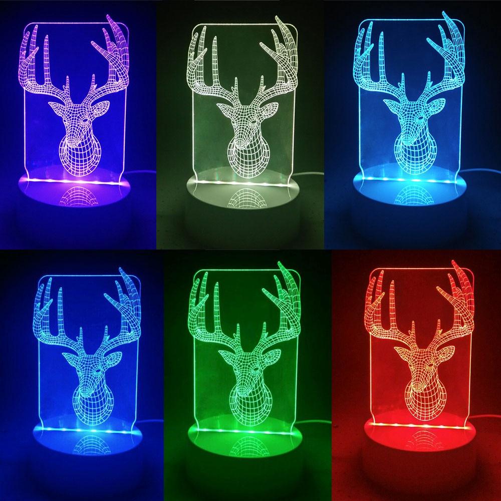 Radient Muqgew 3d Kerst Herten Unieke Lichteffecten Home Decor Led Control Tafellamp Gewei Prachtige Verlichting Drop Shipipng