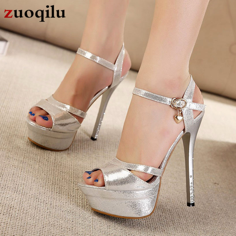2019 Sexy High Heels Shoes Women Pumps Peep Toe Platform Heels Women Shoes Party Rhinestone Buckle Strap Wedding Shoes Woman
